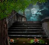 Old stone staircase in celebration of Halloween on background of — Stock Photo
