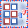 Bright multicolored background with frames, balloons and confett — Stock Photo #58503895