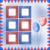 Bright multicolored background with frames, balloons and confett — Stock Photo