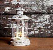Old Christmas lantern on background of  old brick wall and floor — Zdjęcie stockowe
