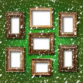 Gilded wooden frames for pictures on abstract blue background — Stock Photo