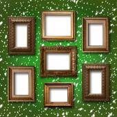 Gilded wooden frames for pictures on abstract blue background — Stok fotoğraf