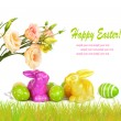 Easter eggs, bunnies and fun bouquet of flowers isolated on whit — Stock Photo #62144721