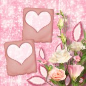 Bouquet of beautiful pink roses with the invitation or congratul — Foto de Stock