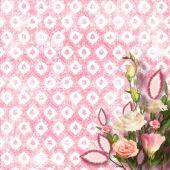 Kytici krásných růžových růží s pozvání nebo congratul — Stock fotografie