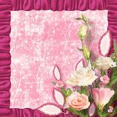 招待状や congratul と美しいピンクのバラの花束 — ストック写真