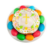 Painted Easter eggs and delicious cupcake on white isolated back — Stock Photo