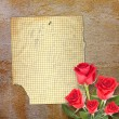 Old vintage card with a beautiful red rose on paper background — Stock Photo #65252917