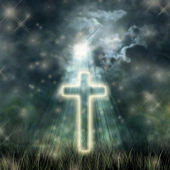 Holy Cross glowing, bright moon on a dark sky, the dark clouds — Stock Photo