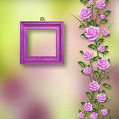 Drawing beautiful bouquets of roses with wooden frame on pastel — Stockfoto