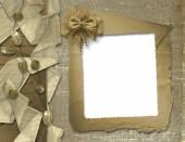 Invitation festive ou saluant avec rubans et perles — Photo