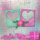 Card for congratulation or invitation with slides and pink roses — Stock Photo