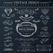 Calligraphic elements vintage ornament set. Vector frames orname — Vetorial Stock