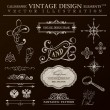 Calligraphic design elements vintage set. Vector ornament frame — Vettoriale Stock