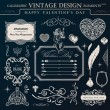 Calligraphic vintage ornament set. Happy valentine day design el — Stockvector