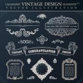 Calligraphic black elements vintage Congratulation and page deco — Stock Vector