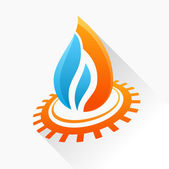 Vector symbol fire with gear. Orange and blue flame glass icon w — Stock Vector