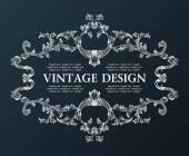 Vector vintage royal old frame ornament decor black — Vector de stock