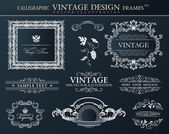 Vintage black frames ornament set. Vector element decor — Stock Vector