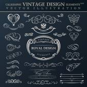 Calligraphic elements vintage ornament set. Vector frames orname — Stock Vector