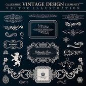 Calligraphic heraldic decor elements. Vector vintage frameworks — Stock Vector