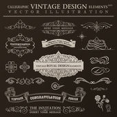 Calligraphic design elements vintage set. Vector ornament frames — Wektor stockowy