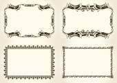 Vector frameworks set. Ornate and vintage design elements — Stock Vector