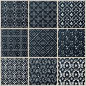 Vector seamless vintage backgrounds set black baroque Pattern — Stock Vector