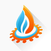 Vector symbol fire with gear. Blue and orange flame glass icon w — Stock Vector