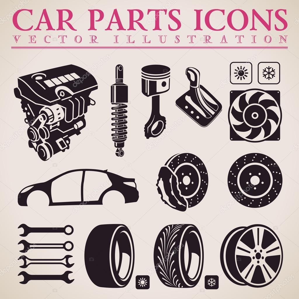 Car Transmission Vector Car Parts Vector Set