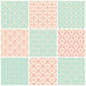 Backgrounds set. Seamless wallpaper vintage — Stock Vector
