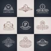 Luxury logo set. Calligraphic pattern elegant decor elements. Vintage ornament — Stock Vector