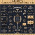 Calligraphic vintage elements. Vector baroque set. Design icons — Stock Vector #77810332