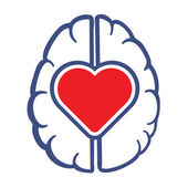 Heart and Human Brain symbol — Wektor stockowy
