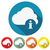 Cloud information web icon flat — Stock Vector