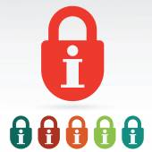 Information secured web icon flat — Stock Vector