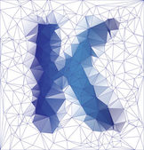 Abstract Frozen letter K low poly design — Stock Vector