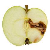 Worm Eating Apple Isolated on White Background — Stock Photo
