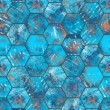 Hexagonal Blue Grungy Metal Tiled Seamless Texture — Stock Photo #64845579