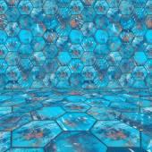 Hexagonal Blue Tiled Room — Stock Photo
