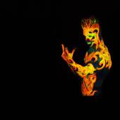 Body art glowing in ultraviolet light  — Foto Stock