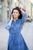 Happy beautiful girl calling by phone  — ストック写真