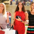 Group of happy smiling women shopping — Stock Photo #52659963