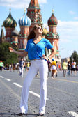 Young women at the red square in Moscow — Stok fotoğraf