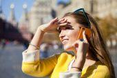 Happy beautiful girl calling by phone  — Stock Photo