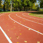 Empty treadmill in autumn park — Stock Photo #53702599