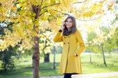 Happy beautiful woman calling by phone  — Foto Stock