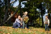 Russian family, young parents and two sons — Foto Stock