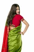 Young pretty woman in indian red dress — Stock Photo