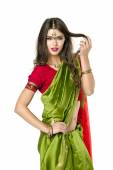 Young pretty woman in indian red dress — 图库照片